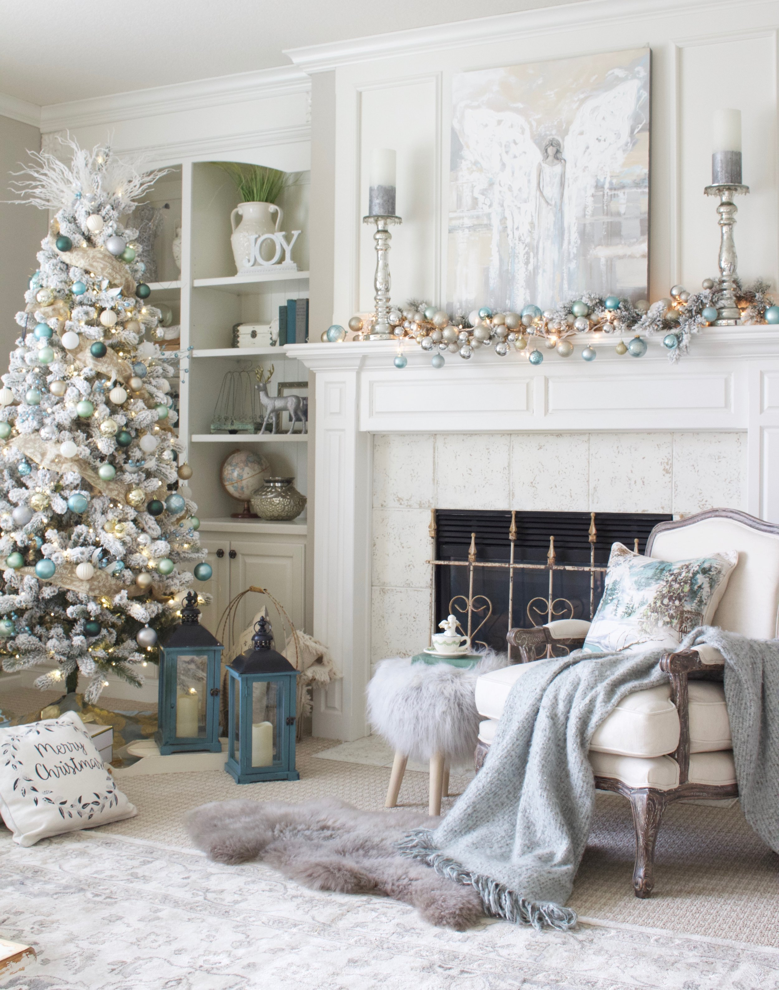 i took my color inspiration for the family room this year from the beautiful angel painting i received from christine krainock art i absolutely love this - Home Design Christmas 2017